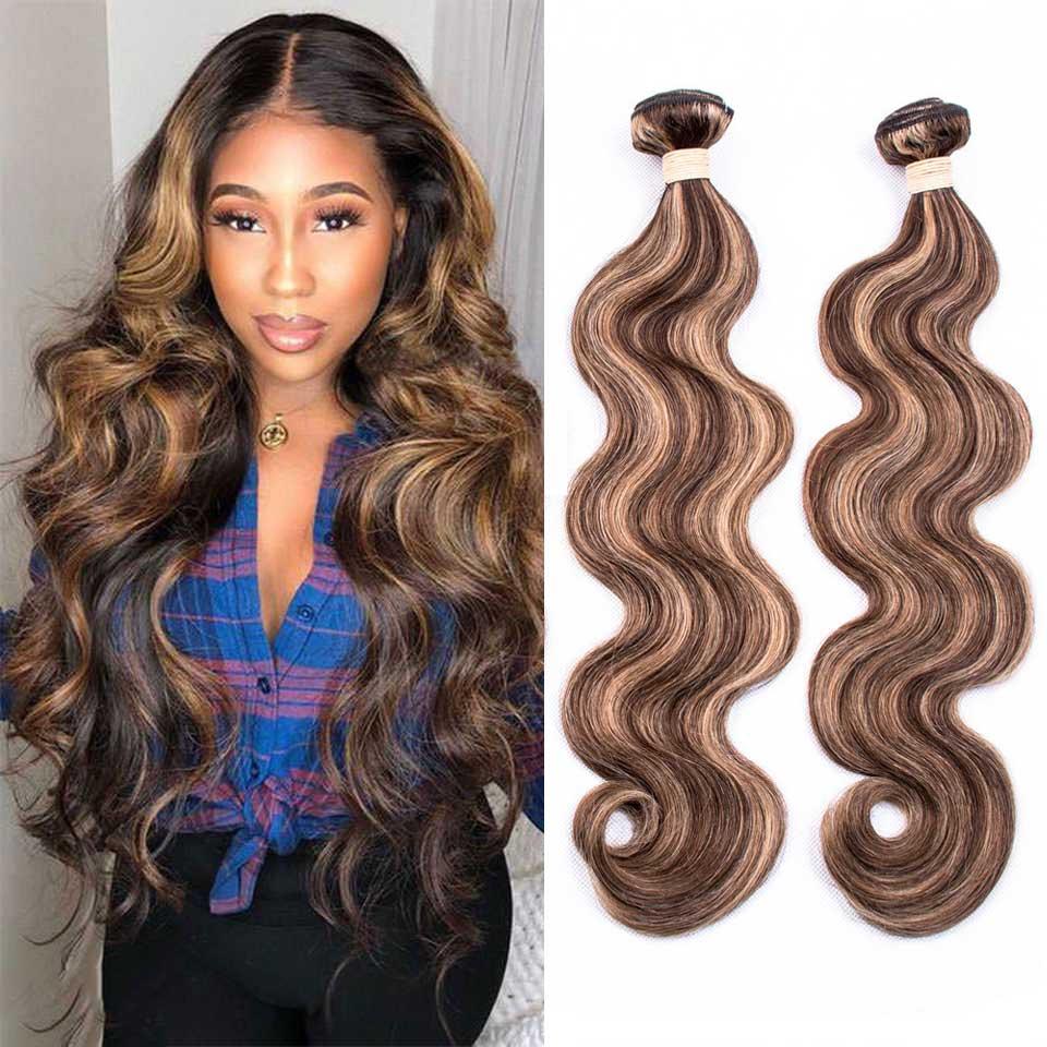 P4-27 Ombre Brown Body Wave Bundles 3/4 Bundles Remy Human Hair Extensions Highlight Bundles Brazilian Body Wave Human Hair